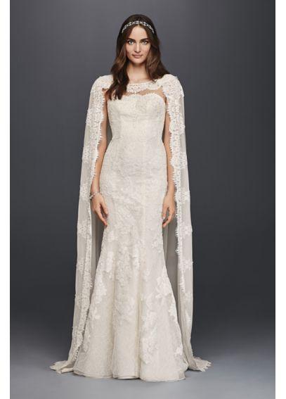 Oleg cassini scalloped chiffon cape wedding dress davids for Wedding dress with a cape