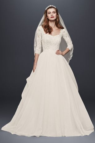 Oleg Cassini Organza 3/4 Sleeved Wedding Dress