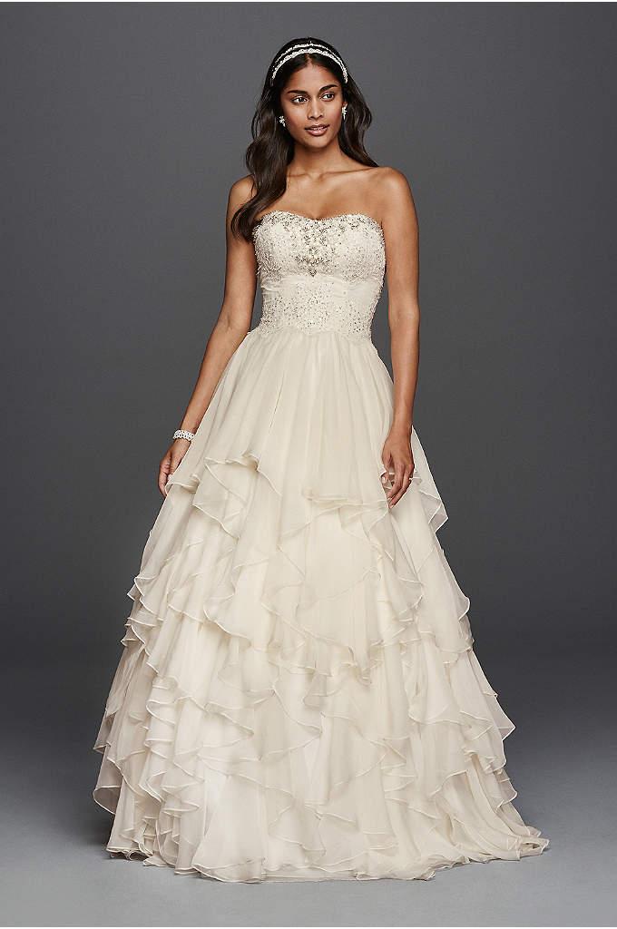 Oleg Cassini Ruffled Chiffon Wedding Dress - Make a chic statement in a chiffon ball