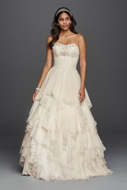 Oleg Cassini Ruffled Chiffon Wedding Dress | David's Bridal