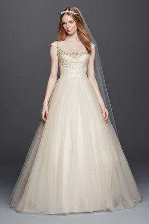 Oleg Cassini Embellished Tulle Wedding Dress