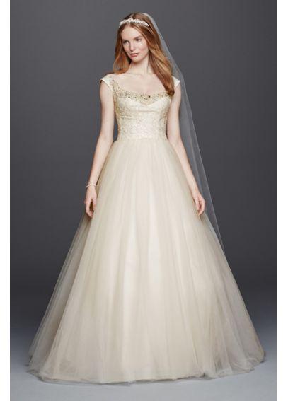 Oleg cassini off the shoulder tulle wedding dress davids for How to start a wedding dress shop