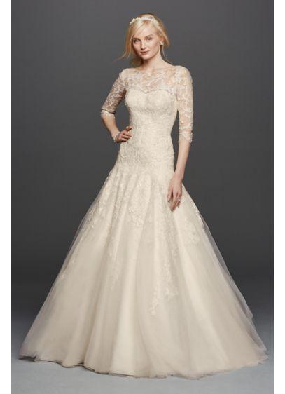 Long A-Line Beach Wedding Dress - Oleg Cassini