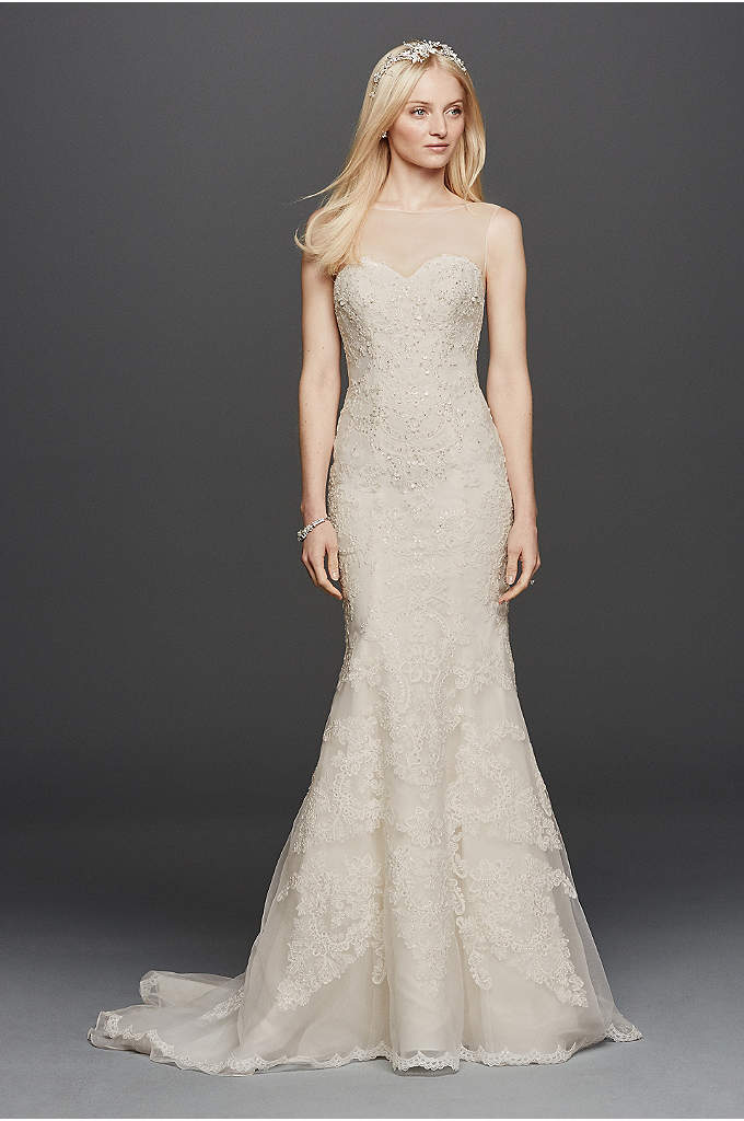 Oleg Cassini Sleeveless Lace Mermaid Wedding Dress - With an ethereal illusion sweetheart neckline and scalloped