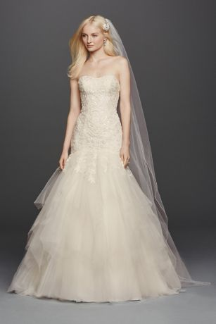 Oleg Cassini Strapless Mermaid Wedding Dres