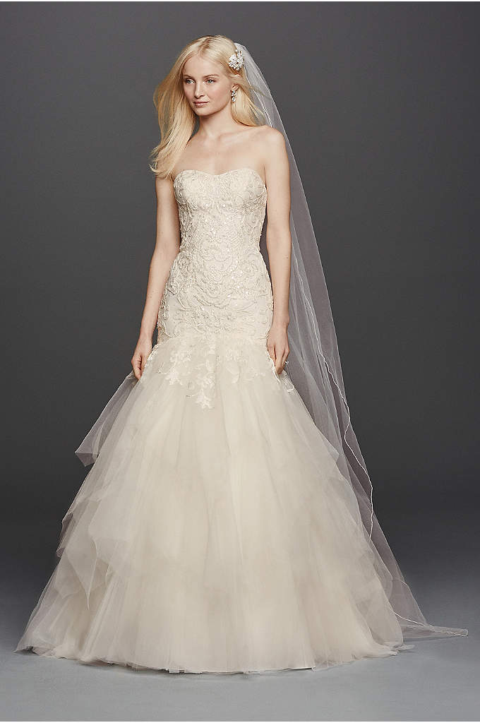 Oleg Cassini Strapless Mermaid Wedding Dress - Love at first sight is what you will