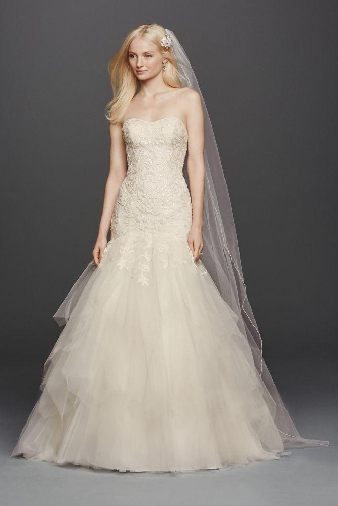 Oleg cassini strapless mermaid wedding dress style cwg737 for Strapless sweetheart mermaid wedding dress