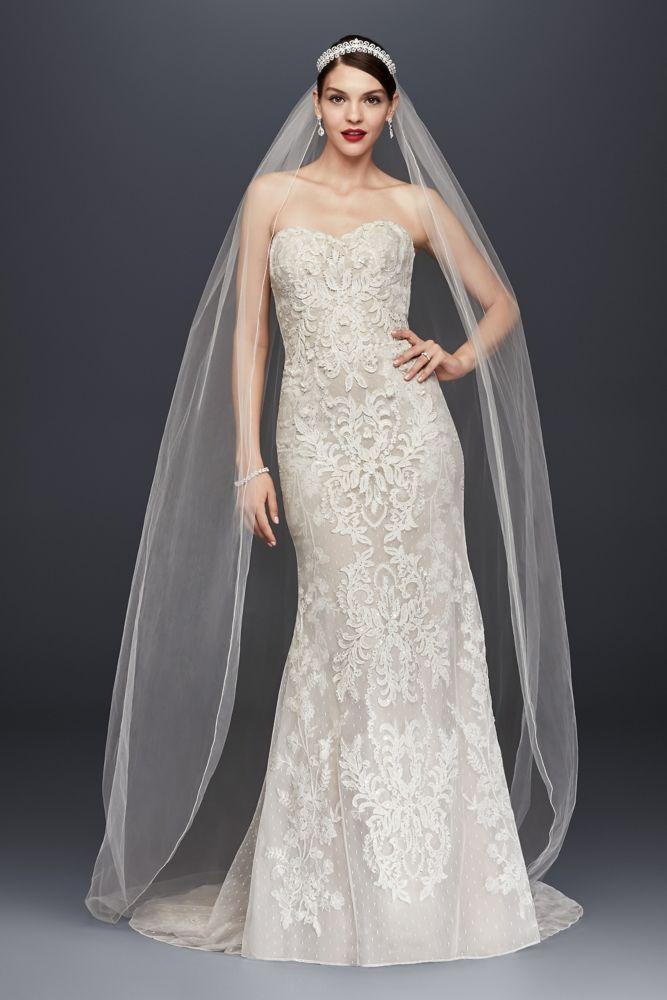 Oleg cassini lace and deep v wedding dress style 8cwg621 for Oleg cassini champagne wedding dress