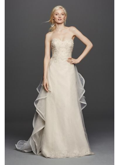 Strapless lace wedding dress with removable train david for Short wedding dress with removable train