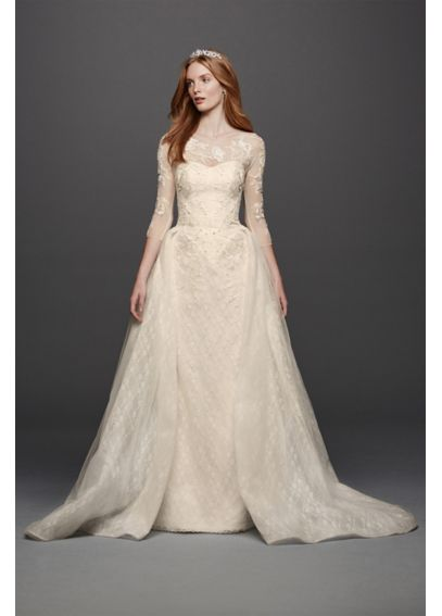 Oleg Cassini Quarter Sleeved Lace Wedding Dress CWG740