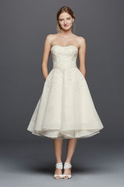 Oleg Cassini Short Strapless Lace Wedding Dress - Davids Bridal