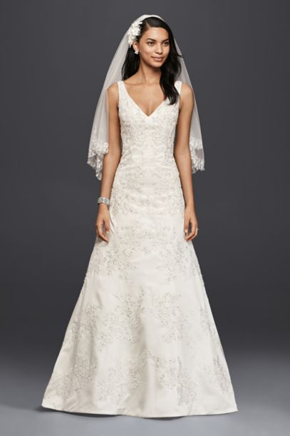 Oleg Cassini V-Neck Lace A-Line Wedding Dress | David's Bridal