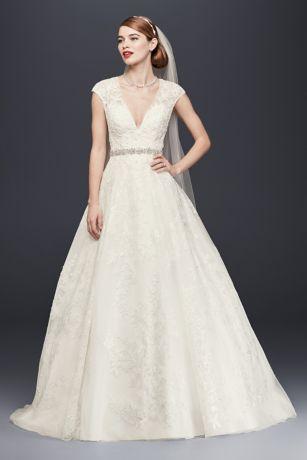 Oleg Cassini V-Neck Cap Sleeve Wedding Dress | David's Bridal