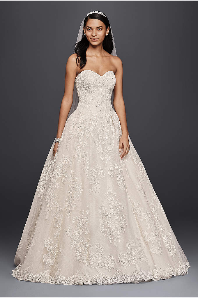 Oleg Cassini Wedding Ball Gown with Lace Appliques - Looking for a classic wedding dress with romantic