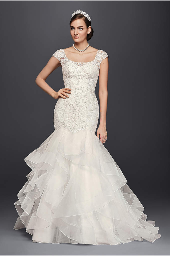 Oleg Cassini Lace Cap-Sleeve Trumpet Wedding Dress - A trumpetwedding dress is the perfect way to