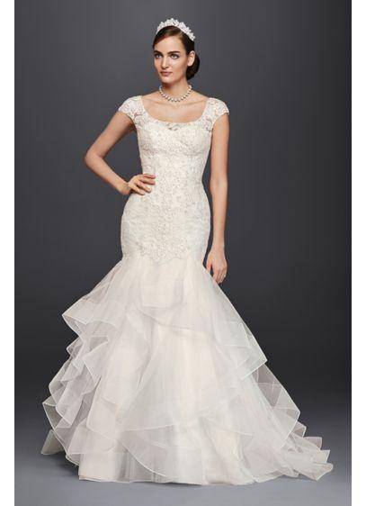 Oleg cassini lace cap sleeve trumpet wedding dress david for Trumpet mermaid wedding dress with sleeves