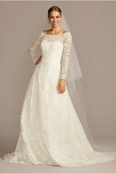 Off-The-Shoulder Lace A-Line Wedding Dress