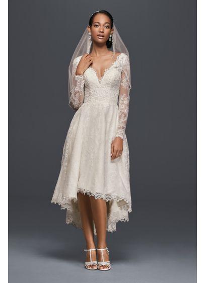 High low chantilly lace wedding dress david 39 s bridal for Chantilly lace wedding dress