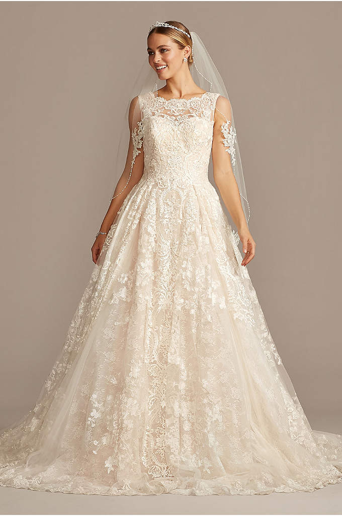 Beaded Lace Wedding Dress with Pleated Skirt - Yards of opulently beaded and appliqued tulle create