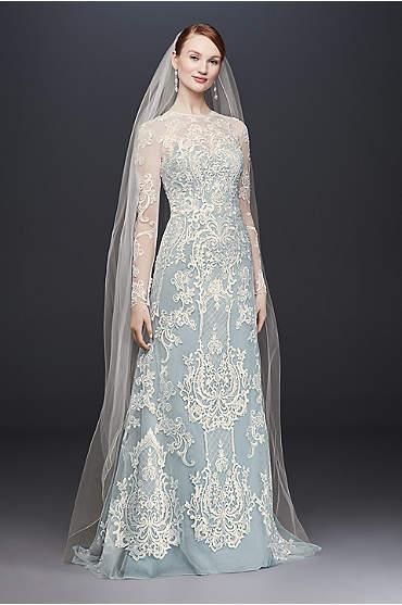 Illusion Lace Long-Sleeve Sheath Wedding Dress