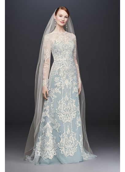 Illusion Lace Long-Sleeve Sheath Wedding Dress | David\'s Bridal