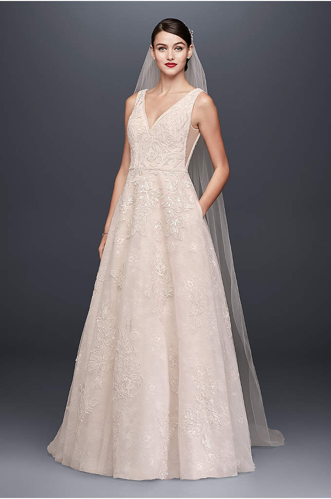 Appliqued Tulle-Over-Lace A-Line Wedding Dress - Crafted of tulle over lace for added dimension,