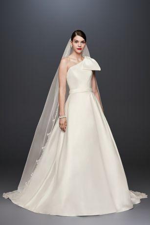 Oleg cassini bow shoulder mikado wedding dress davids bridal long ballgown simple wedding dress oleg cassini junglespirit Image collections