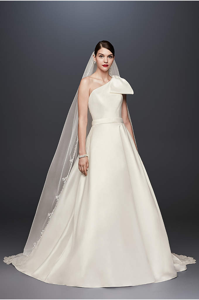 Oleg Cassini Bow-Shoulder Mikado Wedding Dress - Simple yet statement-making, this this lustrous mikado ball