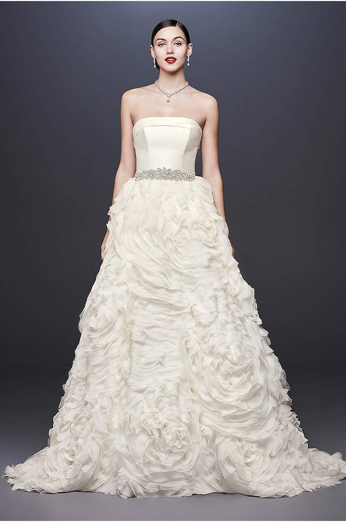 Chiffon Rosette Strapless Ball Gown Wedding Dress - Rosettes crafted from over 600 pieces of bias