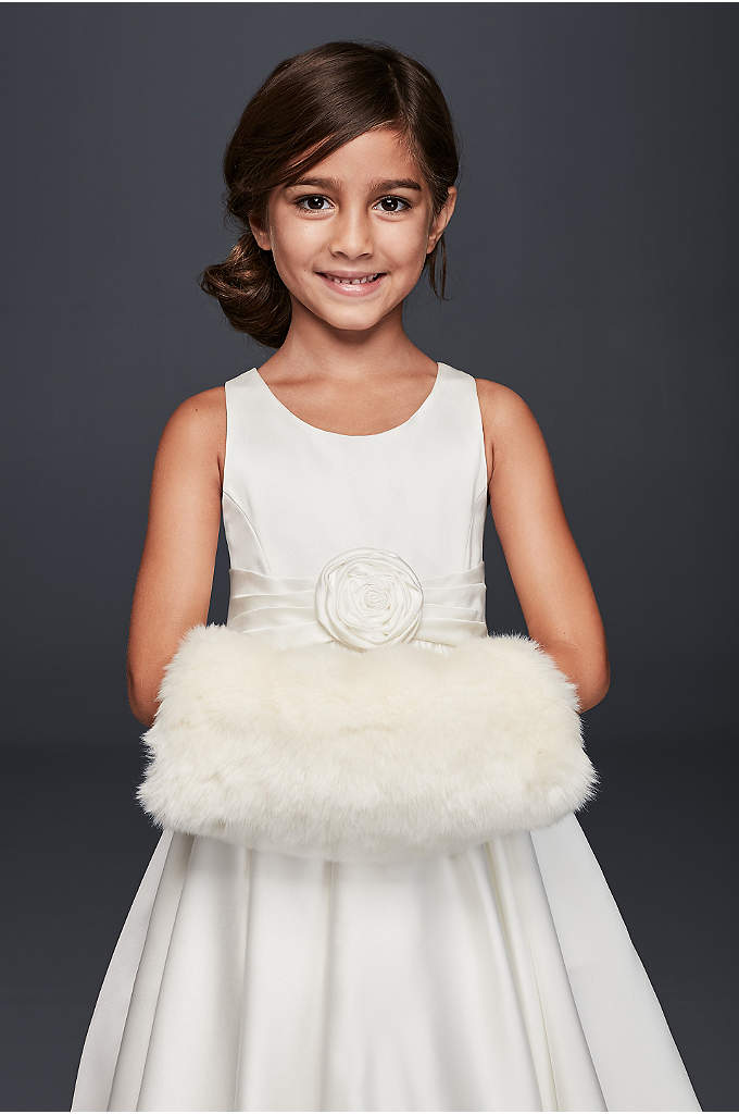 Flower Girl Faux Fur Muff - Keep tiny hands toasty with this cozy, satin-lined,