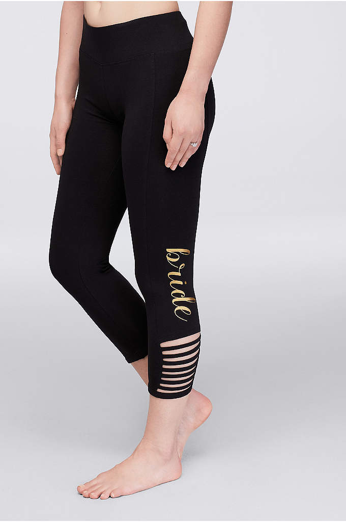 Bride Leggings with Ankle Cutouts - Cute cutouts and gold lettering make these the