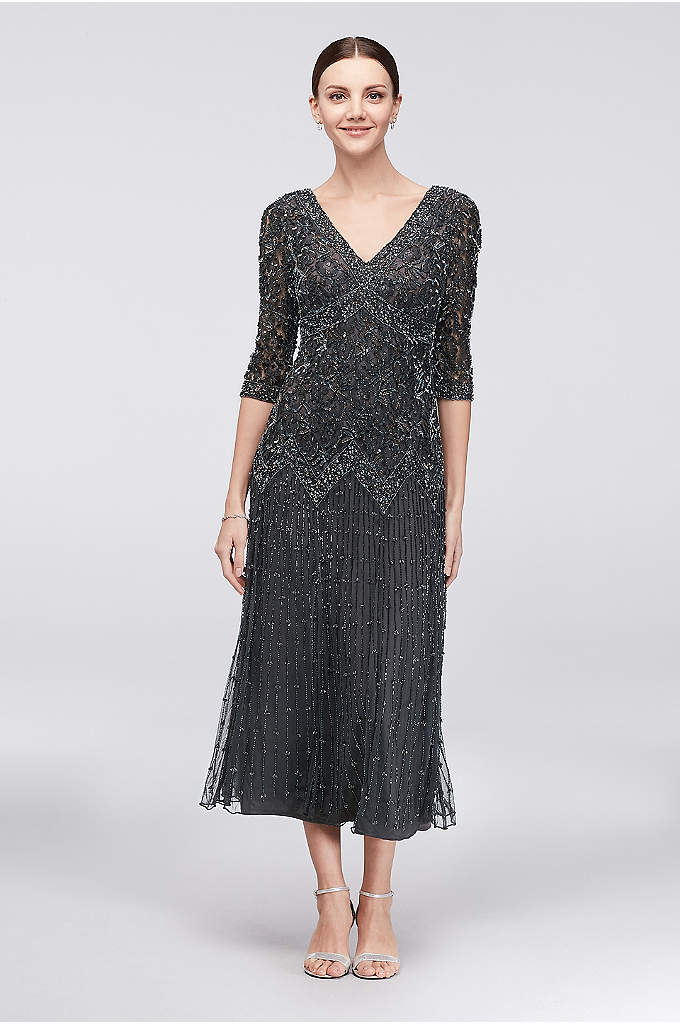 Allover Mixed Beading 3/4-Sleeve Tea-Length Dress - Skinny lines of beading trail down the tea-length