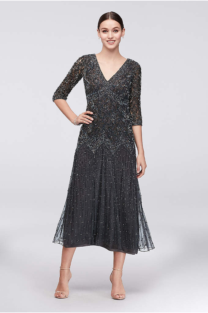 Allover Mixed Beading 3/4-Sleeve Petite Gown - Skinny lines of beading trail down the skirt