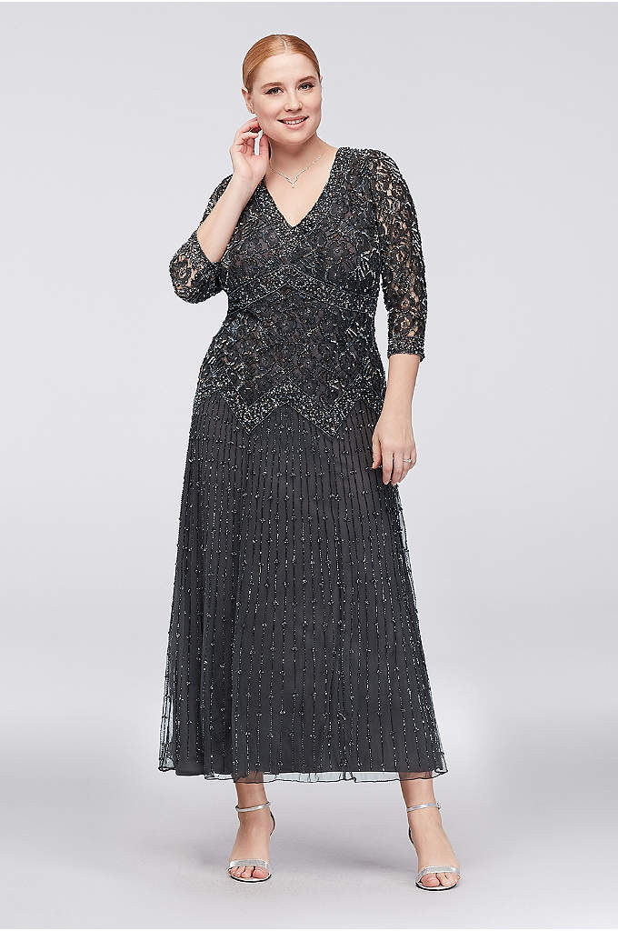 Allover Mixed Beading 3/4-Sleeve Plus Size Gown - Skinny lines of beading trail down the skirt