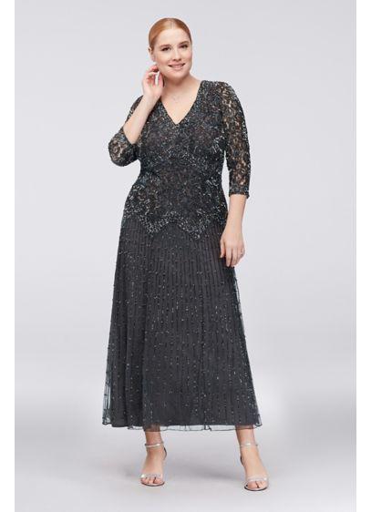 Tea Length A-Line 3/4 Sleeves Formal Dresses Dress - Pisarro Nights