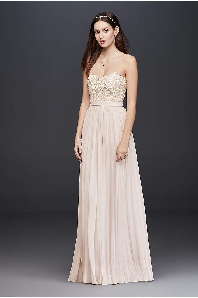 Corded Lace and Chiffon Dress with Pleated Skirt - Easy and breezy, this pleated chiffon strapless dress