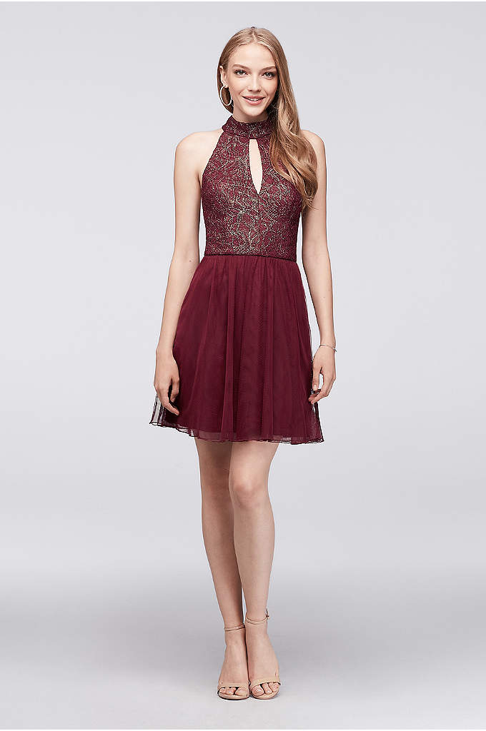 Keyhole High-Neck Metallic Lace and Mesh Dress - A pop of gold glimmer gives this high-neck