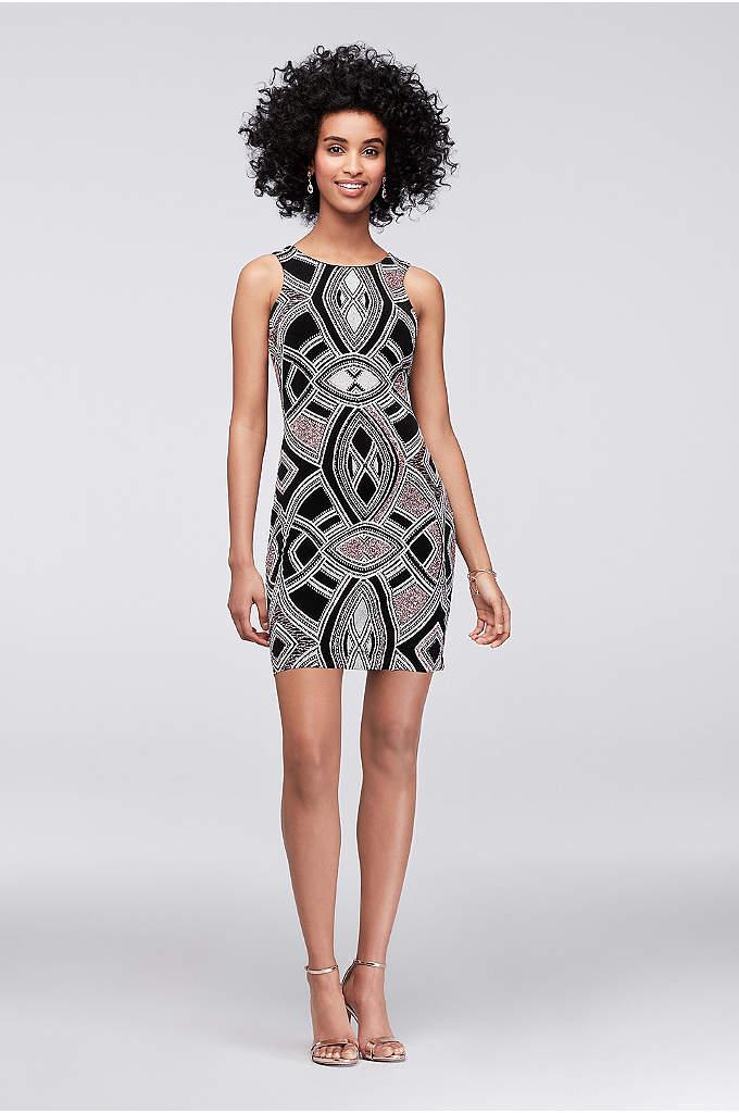 Geometric Glitter-Printed Mini Dress - Get ready to wow 'em in this bold,