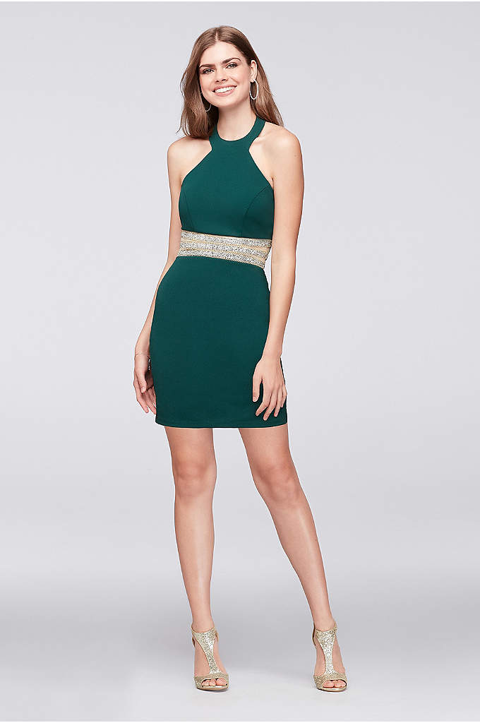 Stretch Knit Y-Neck Dress with Beaded Waist - Sparkle like a diamond in this short stretch-knit