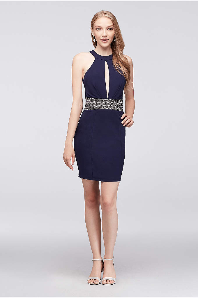 Stretch Crepe Keyhole Dress with Beaded Waist - Sparkle like a diamond in this short stretch-crepe