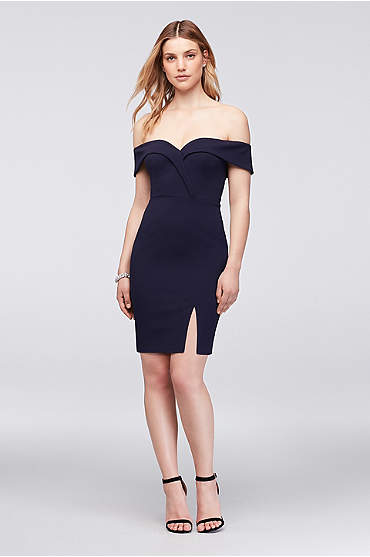 Stretch Crepe Off-The-Shoulder Cocktail Dress