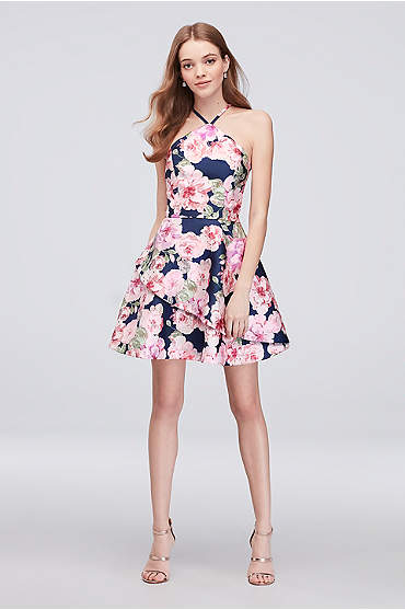 Floral Print Mikado Short Halter Dress