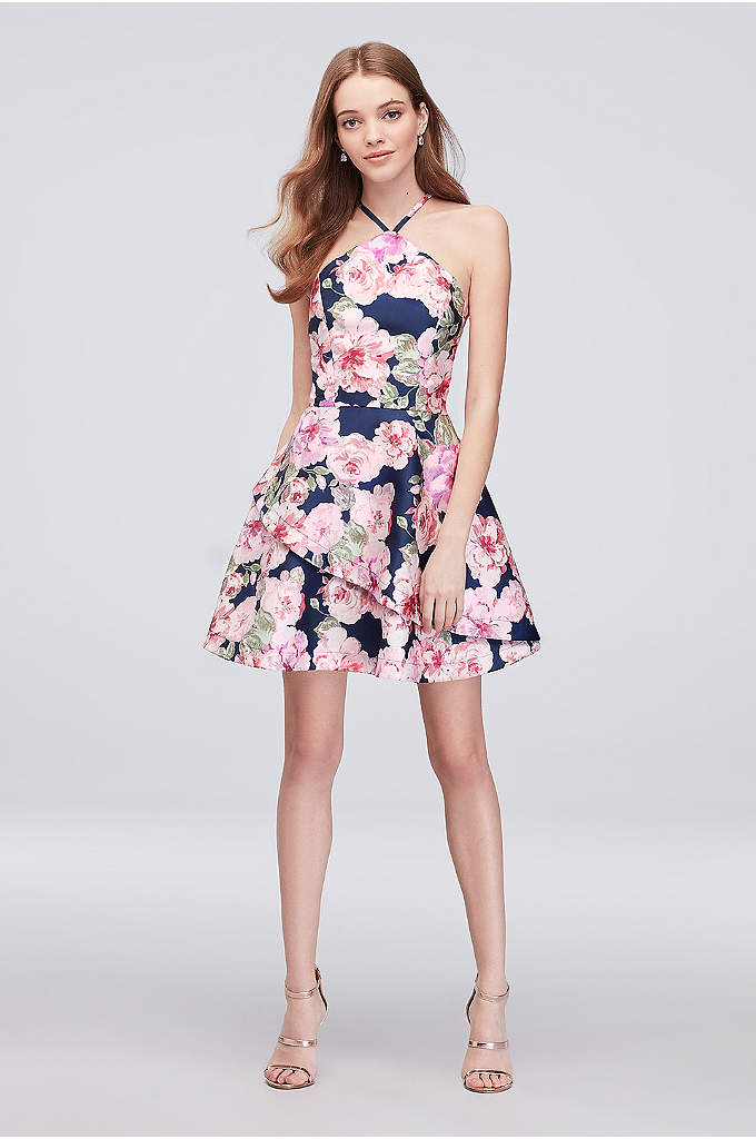 Floral Print Mikado Short Halter Dress - This wow-worthy party dress is simple, short and