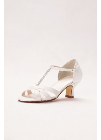 David's Bridal White (Girls T-Strap Crystal Sandals)
