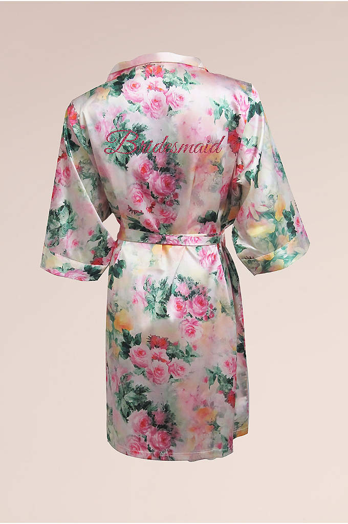 Bridal Party Pastel Floral Robe with Pink Glitter - This gorgeous Bridesmaid robe is part of our
