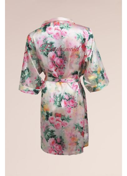 Bridal Party Pastel Floral Robe with Pink Glitter - Wedding Gifts & Decorations
