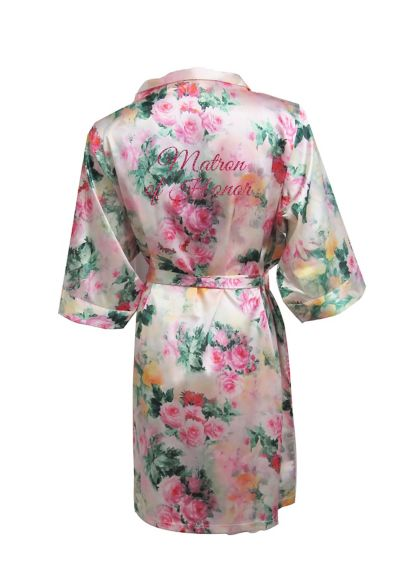 Pastel Floral Robe with Glitter Matron of Honor - Wedding Gifts & Decorations