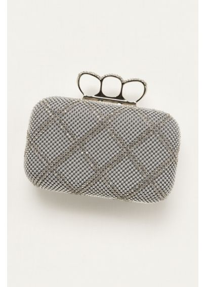 Sasha Crystal Embellished Clutch w/ Knuckle Rings DAZZLE
