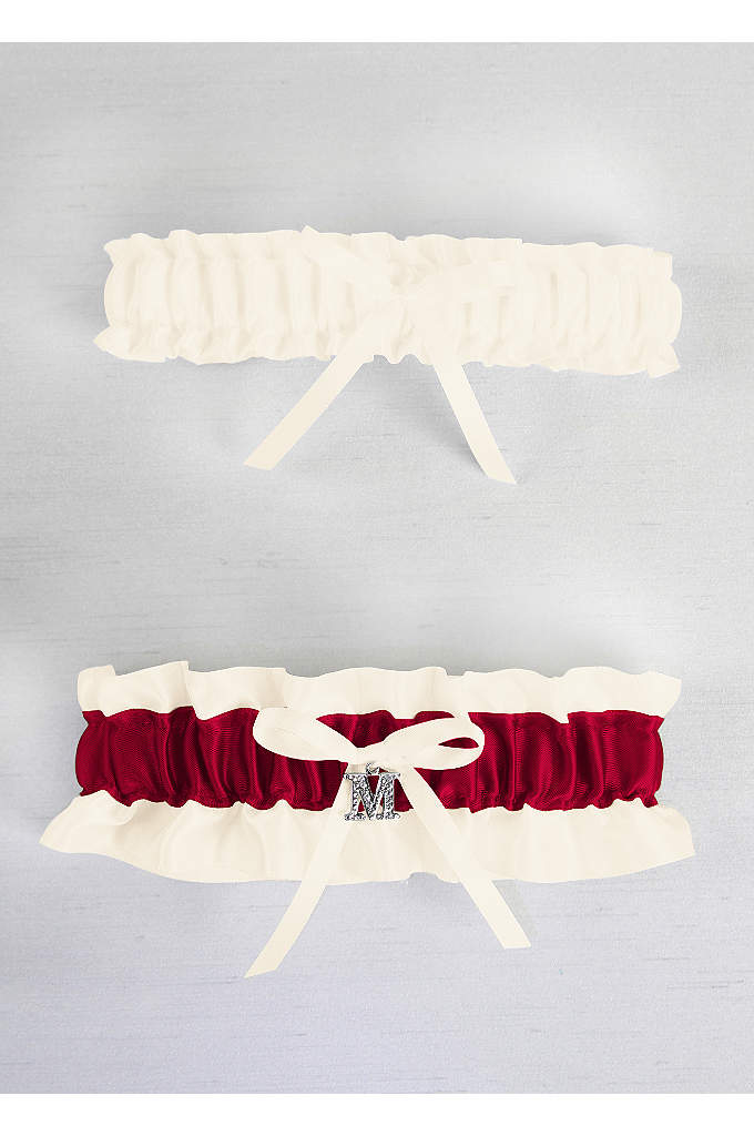 DB Exclusive Plus Size Crystal Monogram Garter Set - A single initial letter charm is the perfect