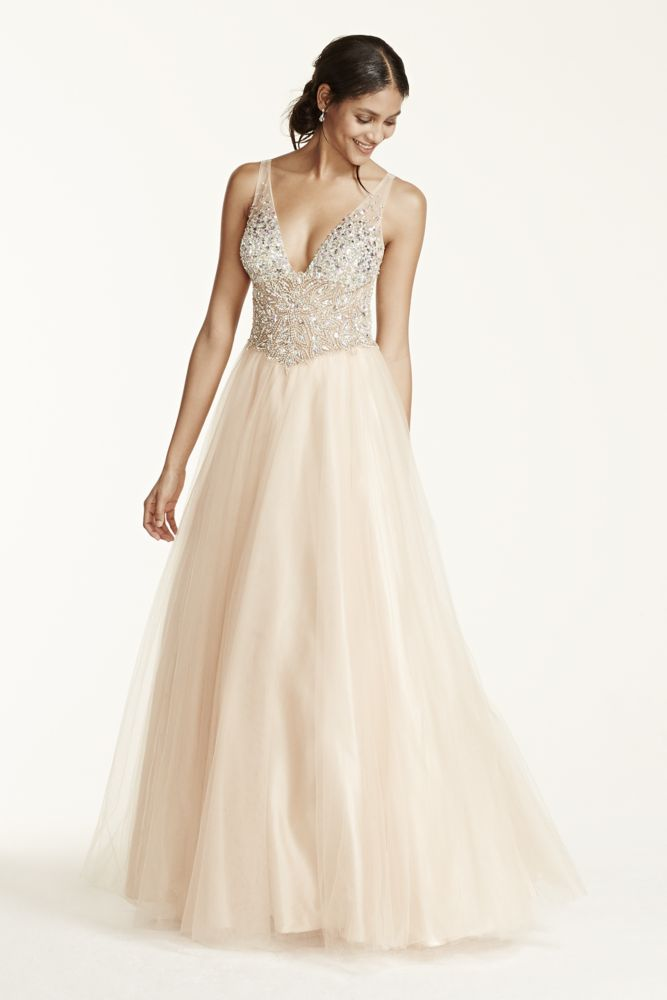 Davids Bridal Sleeveless Fully Beaded Bodice Ball Gown